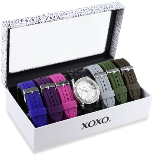 XOXO Womens XO9028 Seven Color Silicone Rubber Interchangeable Strap Set Watch