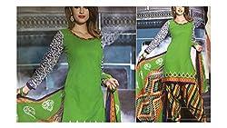 Elegant Attyres Women's Cotton Unstitched Dress Material (Elegant Attyres_3_Bottlegreen_Free Size)