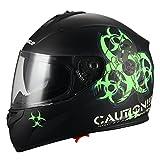 """Biohazard"" Full Face Matte Green Dual Visor Street Bike Motorcycle Helmet by Triangle [DOT] (Small)"