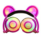 Eoncore Kids Headphones with LED Lights Bear Ear Stereo Eearphones Noise Reduction Wired Over Ear Gaming Headsets for Boys Girls (Pink)