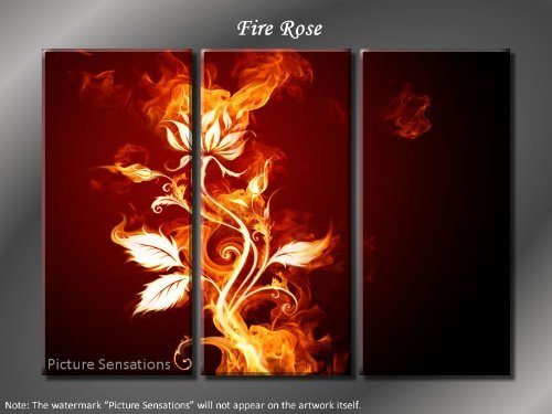 Framed Huge 3 Panel Modern Abstract Floral Fire Rose Giclee Canvas Print