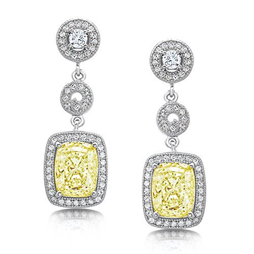 Sterling Silver Canary Yellow Cushion Stone Drop Earrings with Cubic Zirconia by DTLA Fine Jewelry