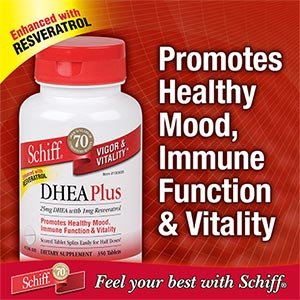 Schiff DHEA Plus Enhanced With Resveratrol, 350 Tablets