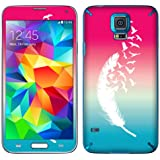 Fincibo (TM) Samsung Galaxy S5 G900 Accessories Skin Vinyl Decal Sticker - Pink And Blue Birds Of A Feather
