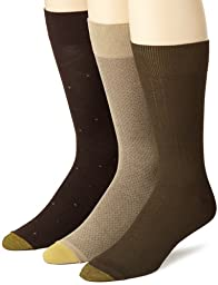 Gold Toe Men\'s Rayon Fashion 3 Pack Socks, Khaki/Olive/Bark,10-13