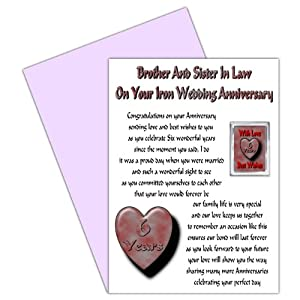 Gift For Brother In Law On Wedding : Brother & Sister In Law 6th Wedding Anniversary Card With Removable ...