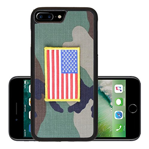 Luxlady Premium Apple iPhone 7 Plus Aluminum Backplate Bumper Snap Case IMAGE ID: 43708645 US flag patch on woodland camouflage uniform (Invisible Force United compare prices)