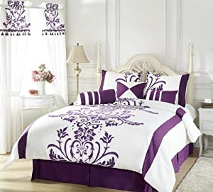 Chezmoi Collection 7-Piece White with Purple Floral Flocking Comforter Bed in a bag