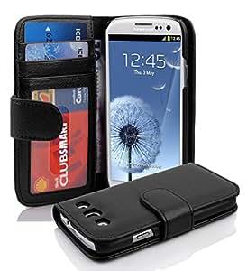 Cadorabo ! PREMIUM - Book Style Hülle im Portemonnaie Design für Samsung Galaxy S3 und S3 NEO (GT-i9300 / GT-i9301) in OXID-SCHWARZ
