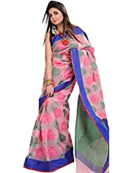 Exotic India Candy-Pink Banarasi Saree With Woven Flowers And Solid Borde - Pink