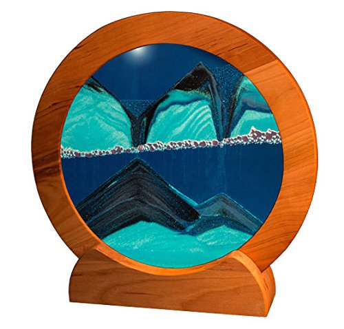 Exotic Sands - SAND PICTURES MANUFACTURER DIRECT - HANDMADE QUALITY - Circle Cherry Frame (Deep Ocean Blue) Moving Sand Pictures for all ages.
