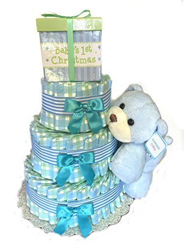 Print Fun - Baby Shower Diaper Cake Gift Set (3 Tier, Gingham Blue)