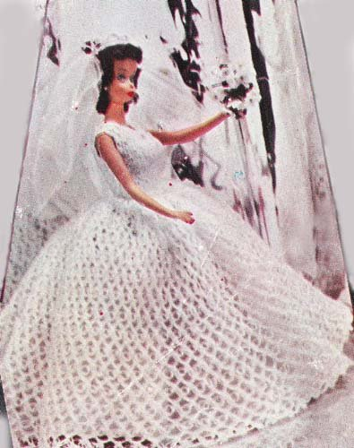 Crochet patterns for barbie doll clothes accessories for Crochet wedding dress pattern