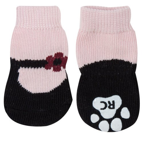 RC Pet Products PAWks Dog Socks, Small, Pink Mary Janes