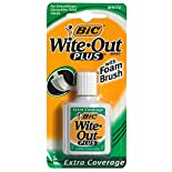 Wite Out Plus Correction Fluid for Everything with Foam Brush, Extra Coverage, White, .7 fl oz (20 ml)