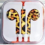 HumanHairWig one pair Headphone Headset Earphone Volume Remote+Mic Colorful for Phone4 5 iPad3 4 ipod WHD689 (4 Tiger skin)