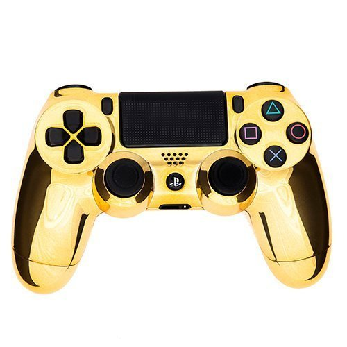 PS4 Dualshock 4 Full Controller with Custom Chrome Gold Shell (Bundled with Custom Thumbstick Covers) (Gold Controller compare prices)