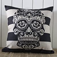 45x45cm Skull Stripe Halloween All Hallows' Eve Gift Present Linen Cushion Covers Pillow Cases Trick-or-treating from Decho Home Decor