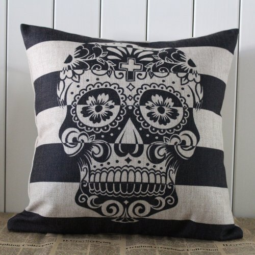 45X45Cm Skull Stripe Halloween All Hallows' Eve Gift Present Linen Cushion Covers Pillow Cases Trick-Or-Treating front-154047