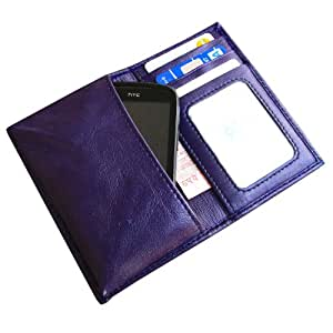 i-KitPit Genuine Leather Wallet Flip Pouch Case For Micromax Ninja A91 (Purple)