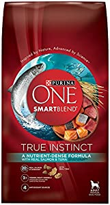 Purina One SmartBlend Dry Dog Food Bag True Instinct with Real Salmon and Tuna, 3.8-Pound, 6-Pack