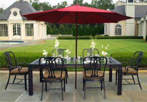 New 13' Burgundy Patio Umbrella Wooden Market Umbrella Patio Furniture