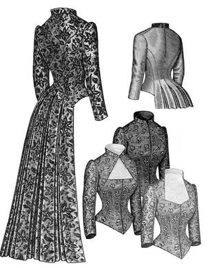 Great Features Of 1883 Tailed Victorian Bodice Pattern