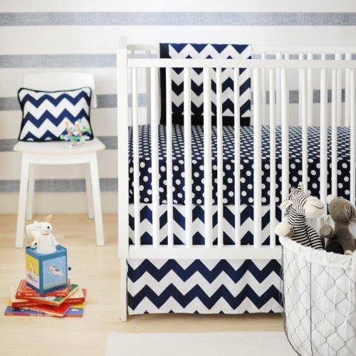 New Arrivals Zig Zag Baby 2 Piece Crib Bedding Set, Navy