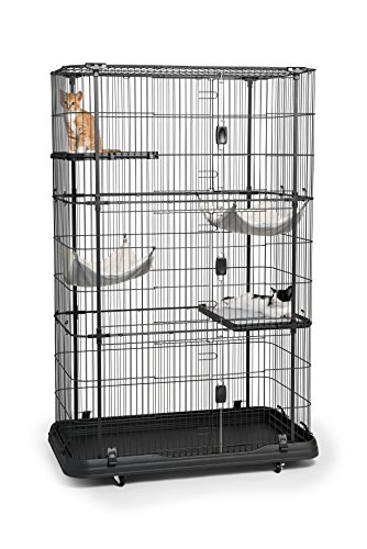 Prevue Pet Products 7500 Premium Cat Home with 4 Levels, Black