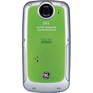 GE DV1 Pocket Digital Camcorder - Lime Green (Full HD 1080p Video, 4x Zoom) 2.5-inch LCD, Waterproof, Shockproof