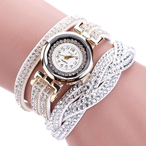 Hunputa Women Luxury Crystal Women Gold Bracelet Quartz Wristwatch Rhinestone Clock Ladies Dress Gift Watches (White)