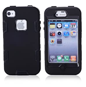 MagicSky Robot Series Hybrid Case for Apple iPhone 4 4S 4G - 1 Pack - Retail Packaging - Black