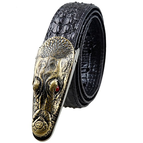 Moonsix Mens Genuine Leather Belt, Embossed Crocodile Plaque Buckle,Style 1-Black (Alligator Belt Black compare prices)