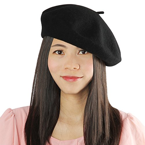 Acecharming Women's French Style Beret Wool Warm Beanie Hat Cap Black One Size (French Cap compare prices)