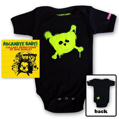 Rockabye Baby! Lullaby Renditions of Bob Marley + Rockabye Baby 100% Organic Cotton Onesie (Green)