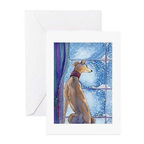 cafepress-greyhound-watching-snow-fall-greeting-cards-greeting-card-matte