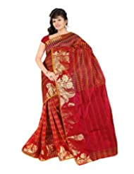 Nirvaan Supernet Multi Checks Saree with Zari Skart Border(Maroon)