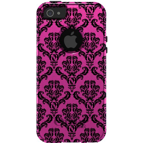 Great Price CUSTOM OtterBox Commuter Series Case for iPhone 5 5S - Damask Pattern (Pink & Black)