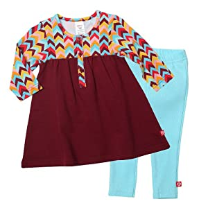 Zutano Baby-Girls Infant Zig Zag Henley Dress with Leggings Set, Multi, 6 Months