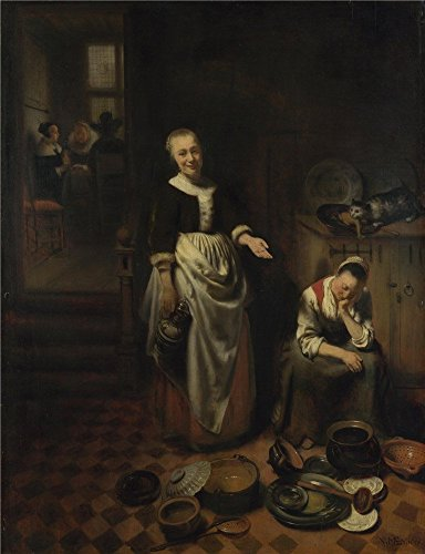 Oil Painting 'Nicolaes Maes The Idle Servant ' Printing On Perfect Effect Canvas , 8 X 10 Inch / 20 X 26 Cm ,the Best Laundry Room Decor And Home Artwork And Gifts Is This Reproductions Art Decorative Canvas Prints