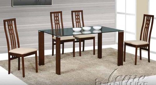 Cheap 5pc Dining Table and Chairs Set with Glass Top in Espresso Finish (VF_Dinset-AM12635-12638)