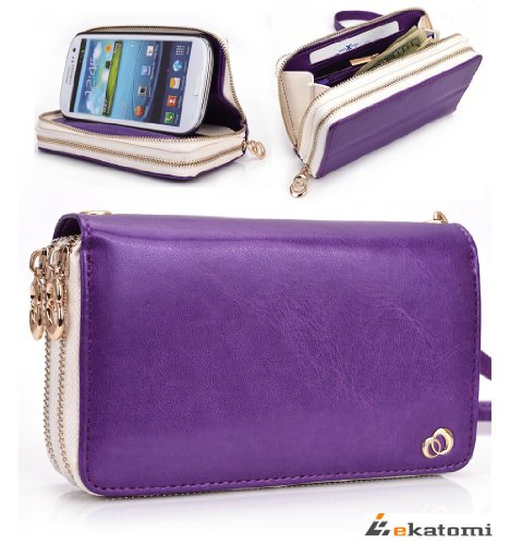 [Runway] Purple & White | Samsung Galaxy S4 Bi-Cast Leather Phone Case With Shell / Women'S Wallet Wrist-Let Clutch. Bonus Ekatomi Screen Cleaner