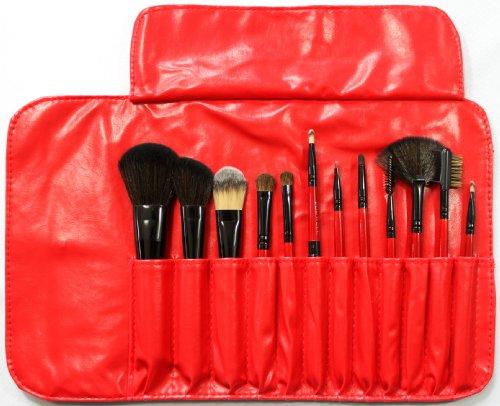 メイクブラシブラシ 化粧ブラシ セット 収納ケース付き 12本 赤 029