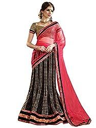 Inddus Women Black & Red Unstitched Embroidered Lehenga Choli