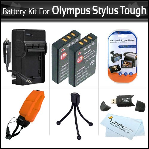 2 Pack Battery And Charger Kit For Olympus Stylus Tough 8010 6020 TG-610 TG-810 TG-820 iHS Digital Camera Includes 2 Extended (1000maH) Replacement LI-50B Batteries + AC/DC Travel Charger + Strap Float + Screen Protectors + USB 2.0 SD Card Reader + More