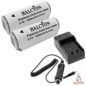 Two Halcyon 1200 mAH Lithium Ion Replacement Battery and Charger Kit for Canon PowerShot ELPH 520 HS 10.1 MP Digital Camera and Canon NB-9L