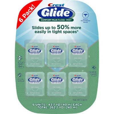 Glide-Crest Dental Floss - 43.7 yd, 6 pack