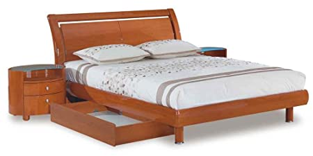 Global Furniture Emily Collection MDF/Wood Veneer Queen Bed, Cherry