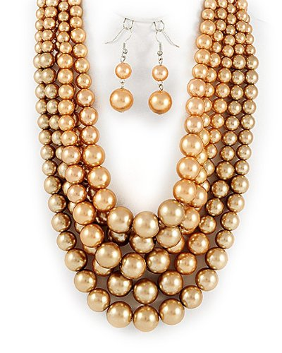 Light Brown Synthetic Pearl Multi Strand Graduated Necklace and Earrings Set Fashion Jewelry Picture
