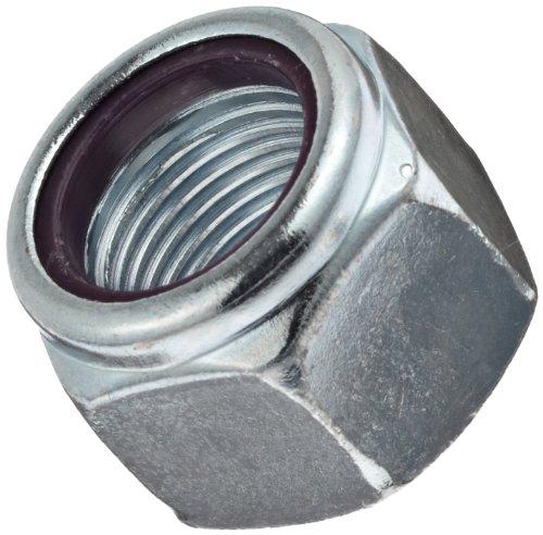 Steel Machine Screw Hex Nut, Zinc Plated Finish, Grade 2, Self-Locking Nylon Insert, Right Hand Threads, #8-32 Threads, 0.374